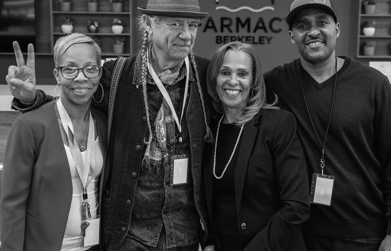 "Photo of the Farmacy family: (from left to right) Steve Deangelo, Founder of Harborside; Kitshwa ""Kiki"" Genama, Founder of Farmacy Berkeley, General Manager; Sue Taylor, Founder Farmacy Berkeley and National spokeswoman for Seniors and Cannabis; and Jamaal Taylor, Founder Farmacy Berkeley."